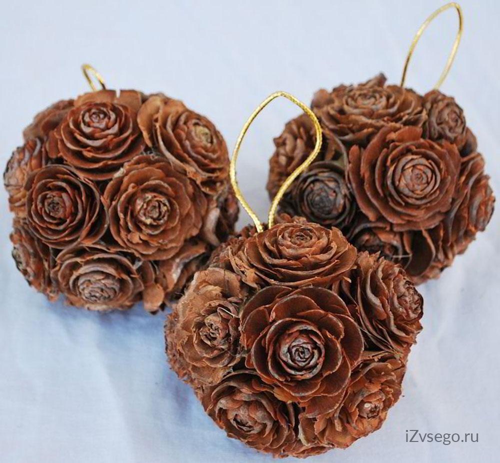 Розы своими руками из шишек 60