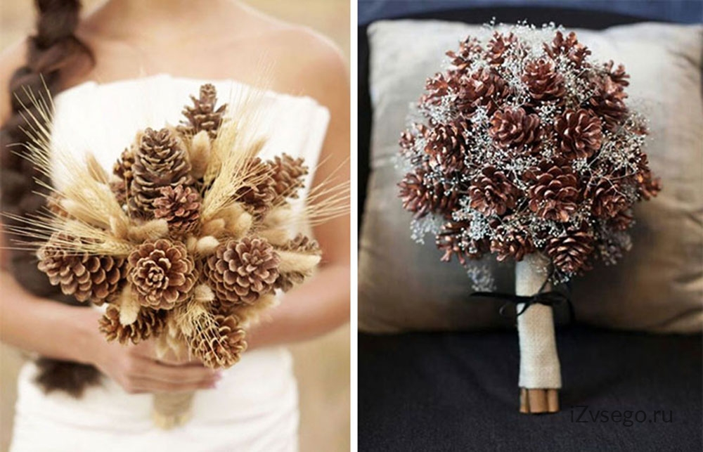 Букет из шишек свадебный, фрезия магазин цветов москва